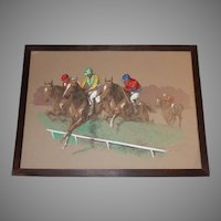 Eugene Pechaubes (1890-1967) Horse Racing Gouache Painting