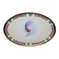 STUNNING Artist Signed Portrait Plate Decorative Tray Moriage Details Bavaria