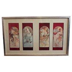Alphonse Mucha Signed Print Four Seasons