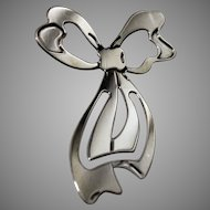Vintage Marked Sterling Silver Bow Bookmark