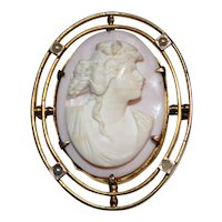 Antique Edwardian Cameo Brooch Pin