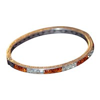 Art Deco Vintage Sterling Orange Art Deco Rhinestone Bracelet
