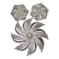 Sarah Coventry Starburst Pinwheel Costume Jewelry Brooch & Earrings Set