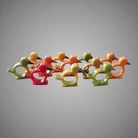 Vintage Set of 12 Bakelite Napkin Rings Chicks