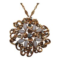 Vintage Florenza Signed Pendant Brooch Necklace