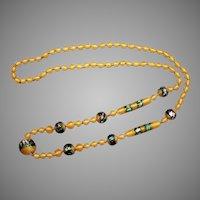 Vintage Art Deco Rainbow Foil Yellow Satin Glass Bead Necklace