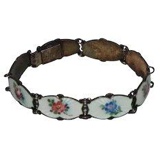 Vintage Enamel Ivar Holt Sterling Silver Flower Bracelet Norway