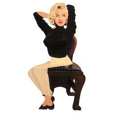 Vintage Kathy Callahan Marilyn Monroe Hand Carved and Painted Solid Wood Chair