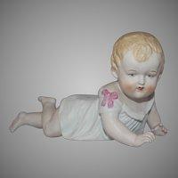 Vintage German Porcelain Bisque Piano Baby Figurine