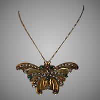 Vintage Unique SADIE GREEN Butterfly Gold tone & Rhinestone Necklace