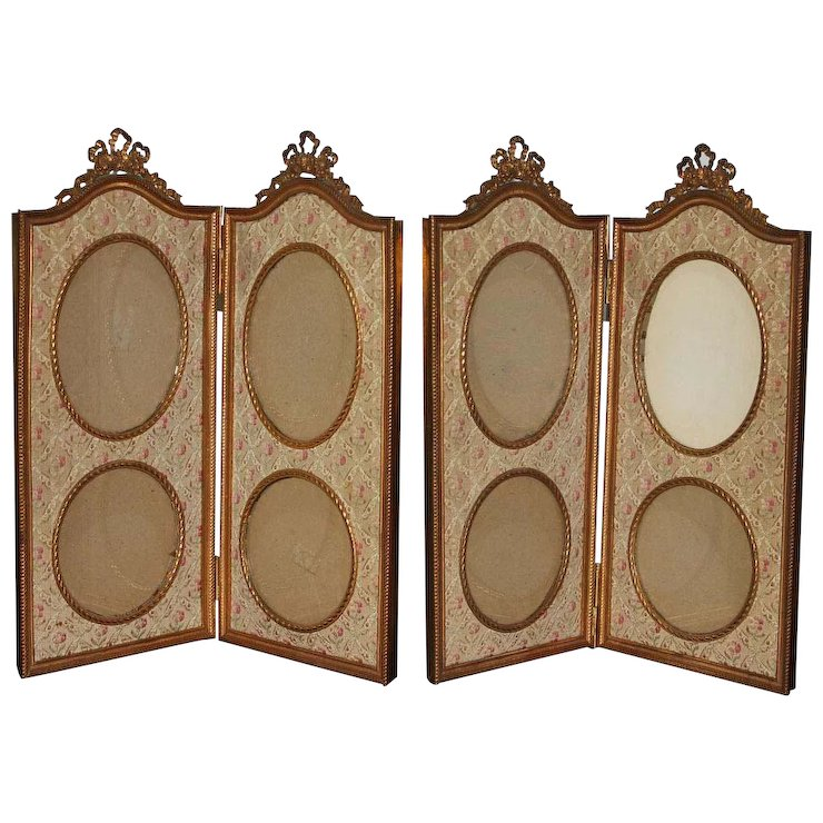 Antique Pair of French Large Bow Top Double Hinged Picture Frame ...