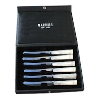 Set of 6 Marhill New York Mother of Pearl Butter Knives in Original Box