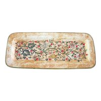 Vintage Hand Painted HEAVY Italian Ceramic 13-inch Rectangular Tray Handmade in Gubbio Italy