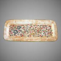 Vintage Hand Painted HEAVY Italian Ceramic 13-inch Rectangular Tray Handmade in Gubbio Italy