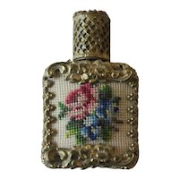 Vintage Petit Point Gold Filigree Glass Perfume Bottle