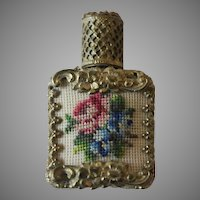 Vintage Petit Point Gold Filigree Glass Perfume Bottle