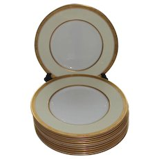"""Set of 10 Royal Worcester Porcelain Diana 10 1/2"""" Dinner Plates w/ Gold Encrusted Rims"""