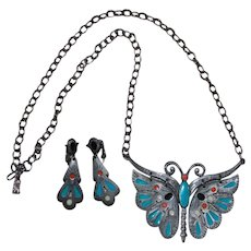 Vintage Celebrity Enamel and Pewter Butterfly Necklace and Earring Set