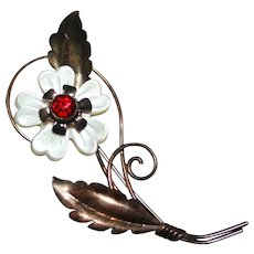 Stunning Unusual Vintage Van Dell Flower Brooch Pin