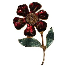 Red Enamel Flower Brooch Pin with Gold Tone Wiring