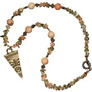 Vintage Repurposed Unakite and Brass Necklace