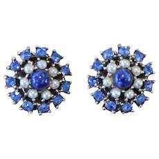 Vintage Signed Weiss Clip-On Blue Rhinestone and Pearl Cluster Earrings