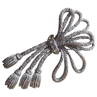 Vintage Hobe Brooch Silver Rope with Tassels and Rhinestones