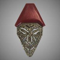 RARE Trifari and Krussman Brooch Art Deco Mask W/ Bakelite Hat Pin