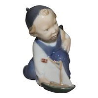 Royal Copenhagen Little Boy with Sail Boat # 3272 Figurine