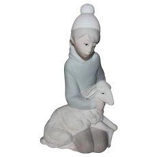 Lladro Shepherd Boy with Lamb Bisque Figurine 4676