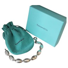 Vintage Tiffany & Co Italy Pebble Oval Link Sterling Silver Bracelet