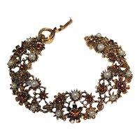 Vintage Signed LISNER Faux Pearl and Rhinestone Bracelet