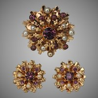 Coro Starburst Brooch Pin and Earring Set Faux Pearl and Amethyst Rhinestone