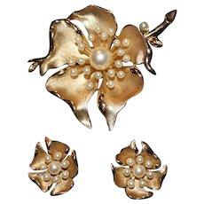 Vintage Crown Trifari Flower on Stem Faux Pearl Brooch and Floral Earring Set