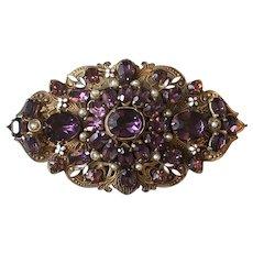 Gold Tone Filigree Brooch with Enamel, Faux Pearls & Amethyst Art Glass Stones