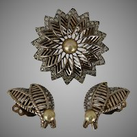 Jomaz Pearl and Rhinestone Demi Parure Brooch and Earrings