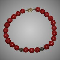 Vintage Chinese Red Cinnabar Necklace W/ Silver Clasp