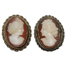 Vintage Shell Cameo Earrings - Sterling Silver Non-Pierced Screw Back