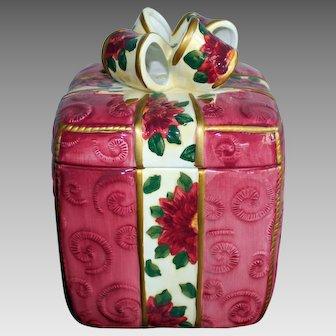 Christmas Gift Poinsettia Porcelain Box Cookie Jar World Bazaar Inc.