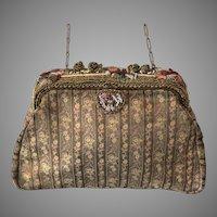 Vintage French A la Reine des Fees Brocade Enamel & Beaded Purse Clutch Evening Bag