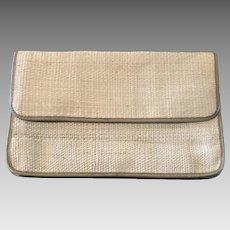 Vintage Jacaranda Straw & Bamboo Purse Envelope Clutch Made in Brazil