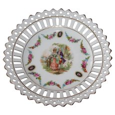 Vintage Porcelain Reticulated Plate Courting Couple - Germany Lattice Openwork Gold