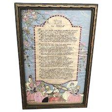 If For Girls Poem by Wilbur D. Nesbit 1920's Art Deco Wood Frame