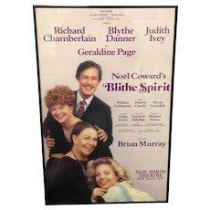 Blithe Spirit Original Poster Framed Neil Simon Theatre Geraldine Page 1987