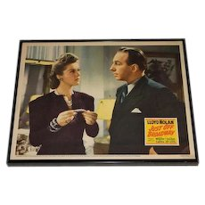 Original RARE Lloyd Nolan Print Just Off Broadway Original Lobby Card / Poster