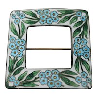 Sterling and Guilloche Floral Enamel Sash Pin
