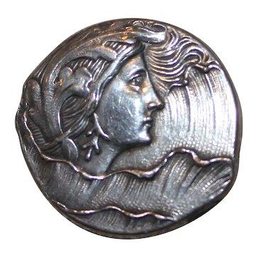 Fishel, Nessler F.N. & Co Silver Art Nouveau Lady Brooch Pin