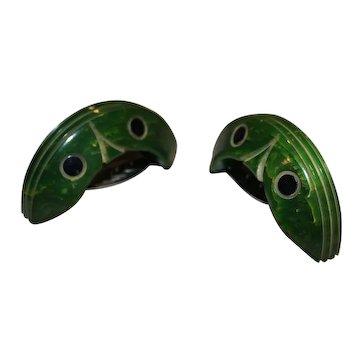 Pair of Vintage Carved Bakelite Green Dress Clips Fur Pins