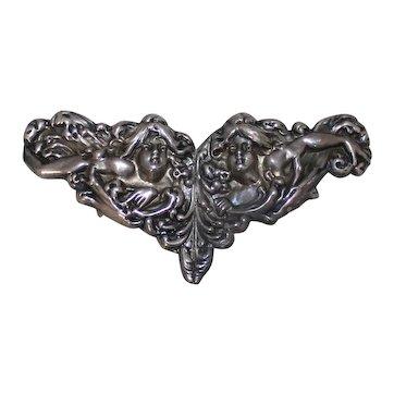 Art Nouveau William B. Kerr Sterling Silver Belt Buckle