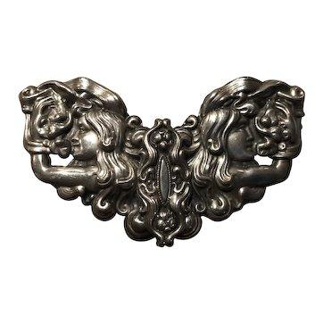 Extraordinary Antique Art Nouveau Silver-Plated Sash Belt Buckle Ladies W/ Arms Bent